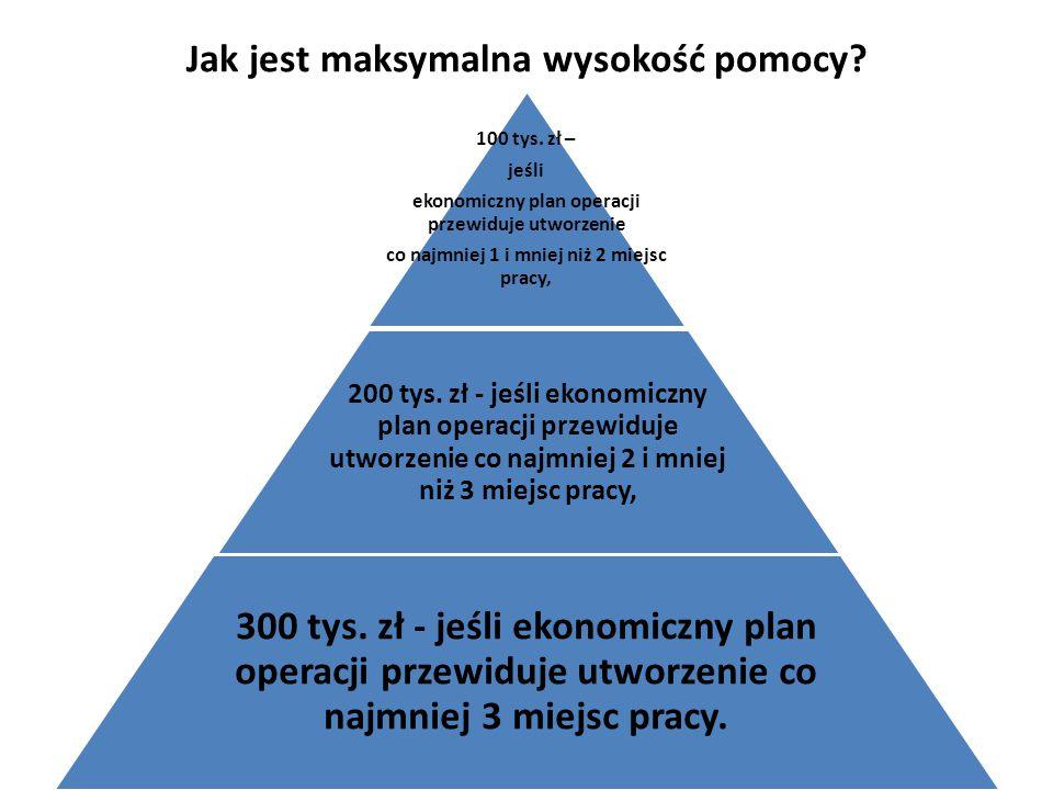 Jak jest maksymalna wysokość pomocy? 100 tys. zł – jeśli ekonomiczny plan operacji przewiduje utworzenie co najmniej 1 i mniej niż 2 miejsc pracy, 200