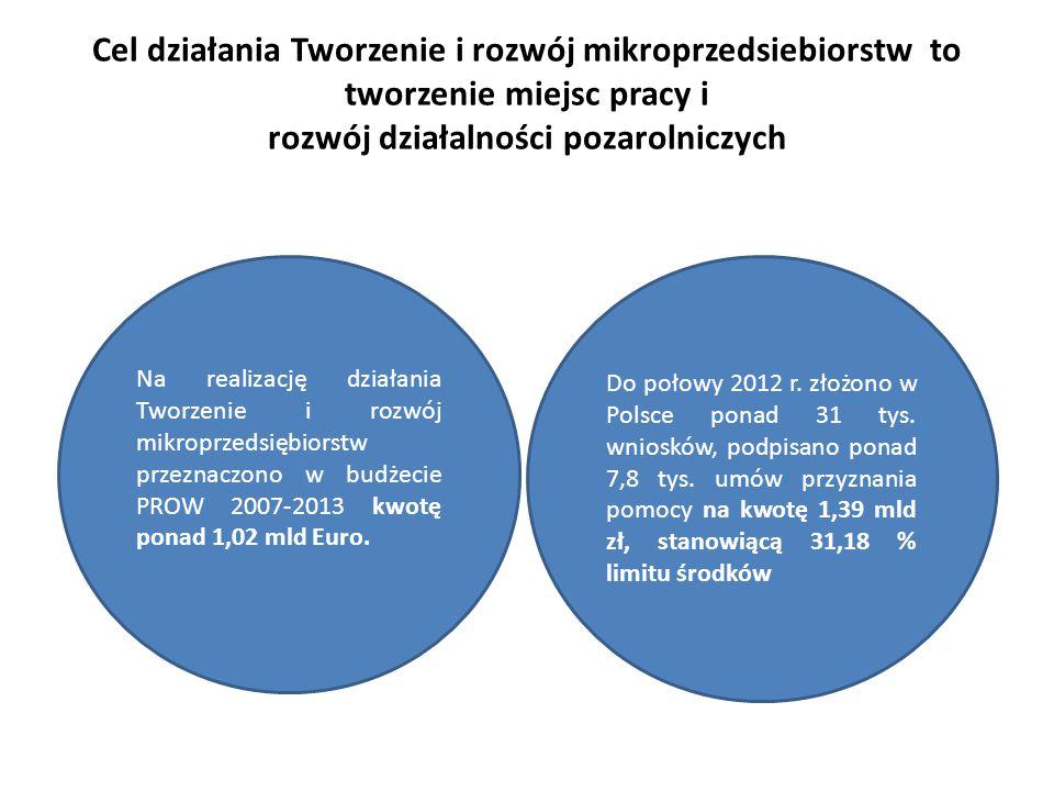 Cel działania Tworzenie i rozwój mikroprzedsiebiorstw to tworzenie miejsc pracy i rozwój działalności pozarolniczych Do połowy 2012 r. złożono w Polsc