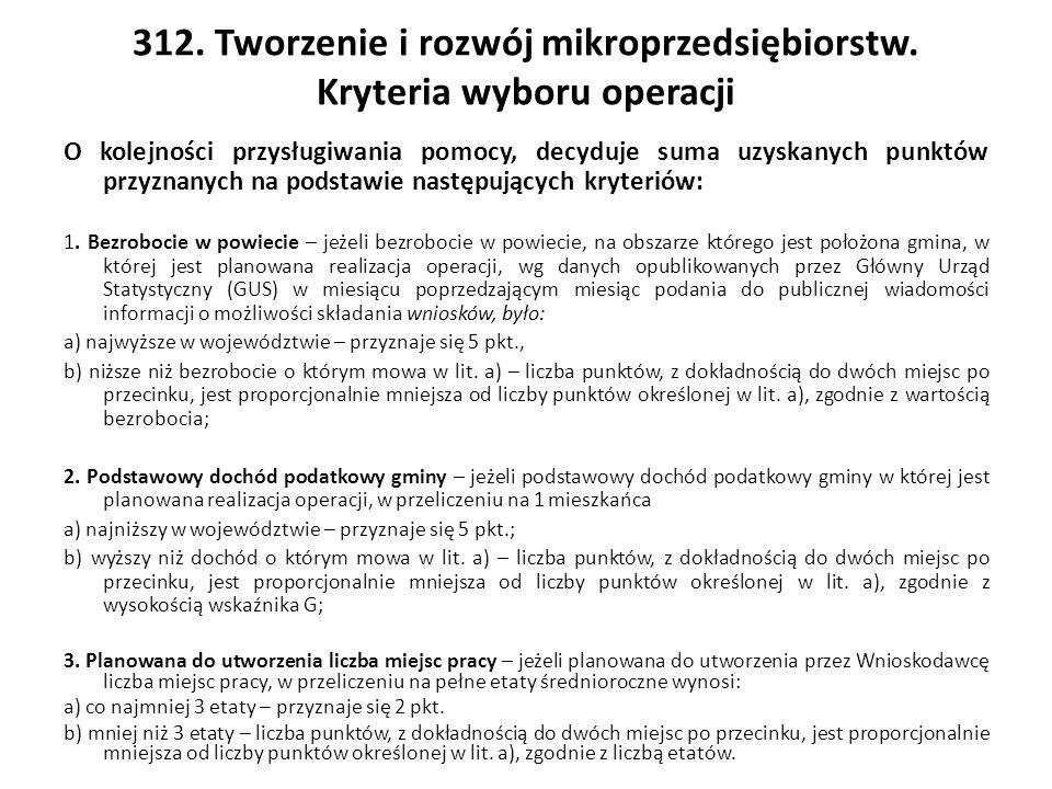 312. Tworzenie i rozwój mikroprzedsiębiorstw.