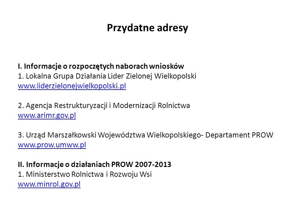 Przydatne adresy I. Informacje o rozpoczętych naborach wniosków 1.