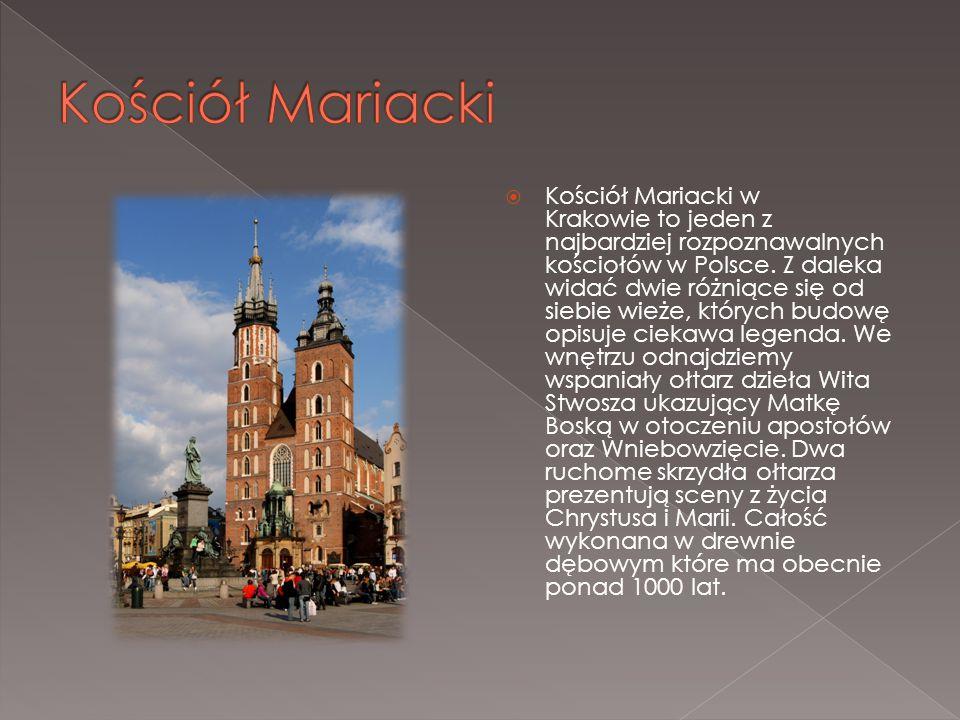  Kościół Mariacki w Krakowie to jeden z najbardziej rozpoznawalnych kościołów w Polsce. Z daleka widać dwie różniące się od siebie wieże, których bud