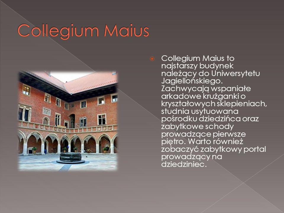  Collegium Maius to najstarszy budynek należący do Uniwersytetu Jagiellońskiego. Zachwycają wspaniałe arkadowe krużganki o kryształowych sklepieniach