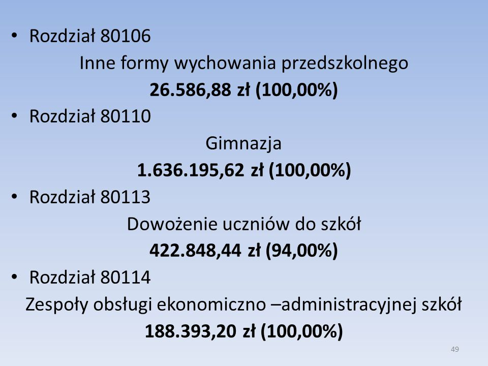 Rozdział 80106 Inne formy wychowania przedszkolnego 26.586,88 zł (100,00%) Rozdział 80110 Gimnazja 1.636.195,62 zł (100,00%) Rozdział 80113 Dowożenie uczniów do szkół 422.848,44 zł (94,00%) Rozdział 80114 Zespoły obsługi ekonomiczno –administracyjnej szkół 188.393,20 zł (100,00%) 49
