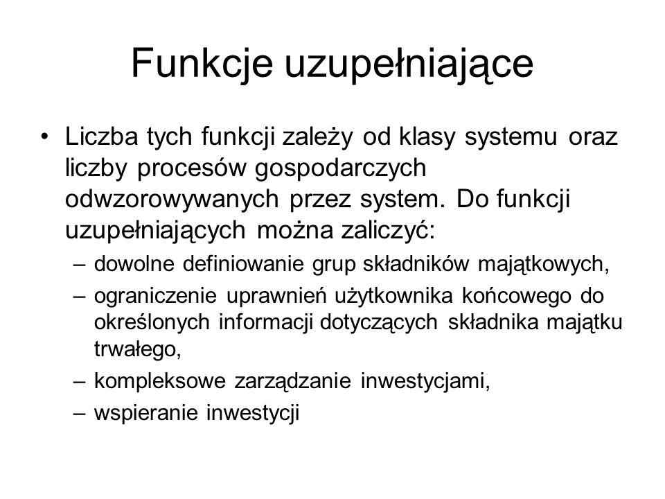 Funkcje uzupełniające Liczba tych funkcji zależy od klasy systemu oraz liczby procesów gospodarczych odwzorowywanych przez system. Do funkcji uzupełni