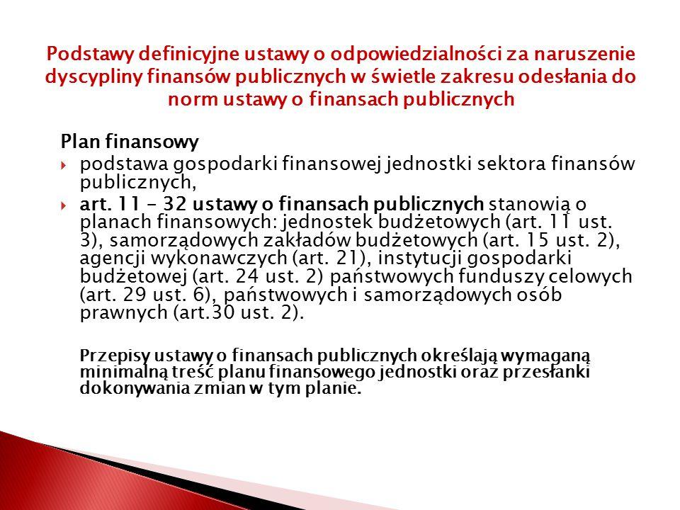 Plan finansowy  podstawa gospodarki finansowej jednostki sektora finansów publicznych,  art.