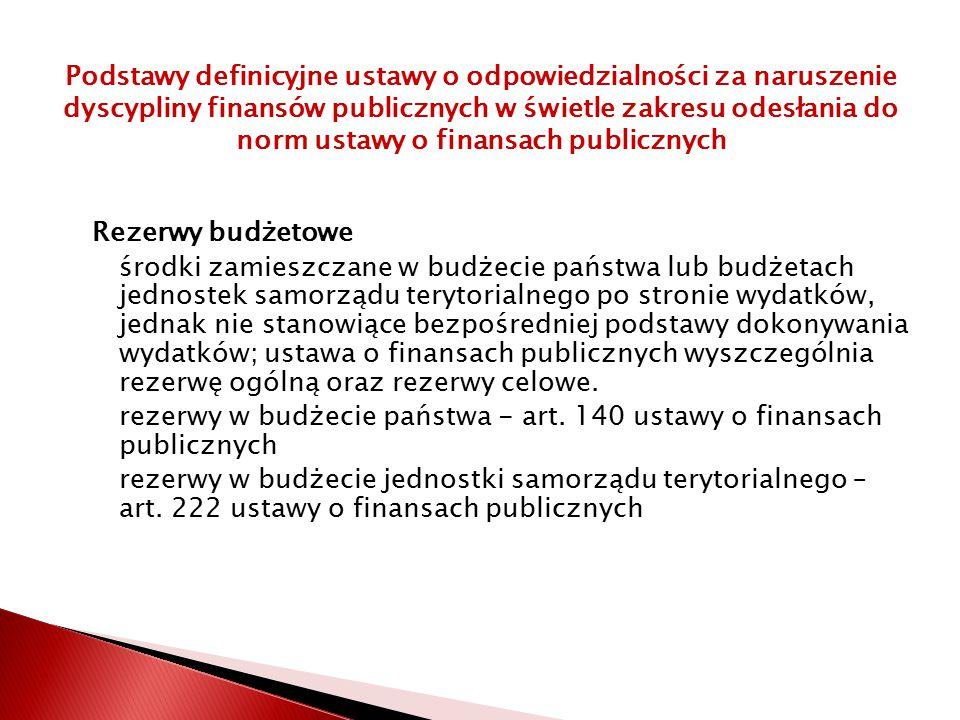 Rezerwy budżetowe środki zamieszczane w budżecie państwa lub budżetach jednostek samorządu terytorialnego po stronie wydatków, jednak nie stanowiące bezpośredniej podstawy dokonywania wydatków; ustawa o finansach publicznych wyszczególnia rezerwę ogólną oraz rezerwy celowe.