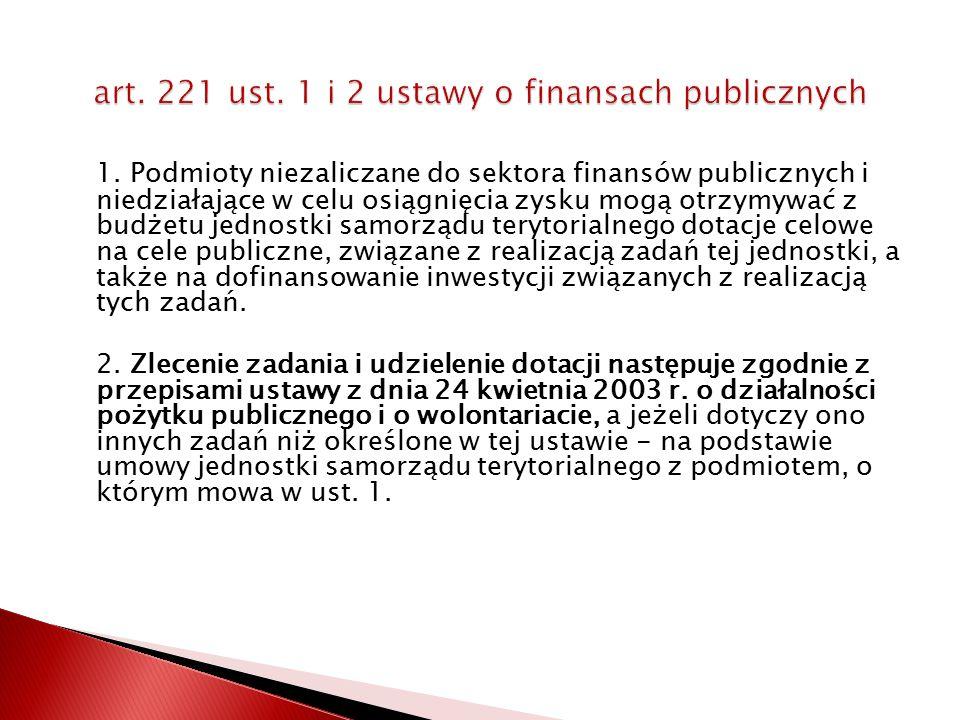 1. Podmioty niezaliczane do sektora finansów publicznych i niedziałające w celu osiągnięcia zysku mogą otrzymywać z budżetu jednostki samorządu teryto