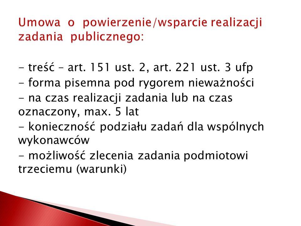 - treść – art.151 ust. 2, art. 221 ust.