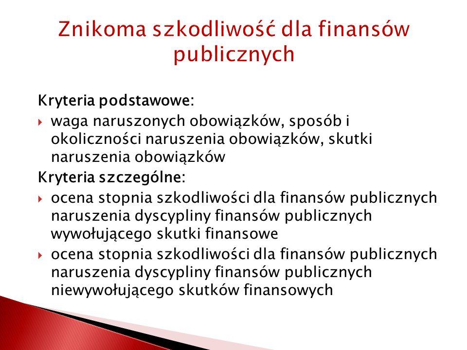 Znikoma szkodliwość dla finansów publicznych Kryteria podstawowe:  waga naruszonych obowiązków, sposób i okoliczności naruszenia obowiązków, skutki naruszenia obowiązków Kryteria szczególne:  ocena stopnia szkodliwości dla finansów publicznych naruszenia dyscypliny finansów publicznych wywołującego skutki finansowe  ocena stopnia szkodliwości dla finansów publicznych naruszenia dyscypliny finansów publicznych niewywołującego skutków finansowych