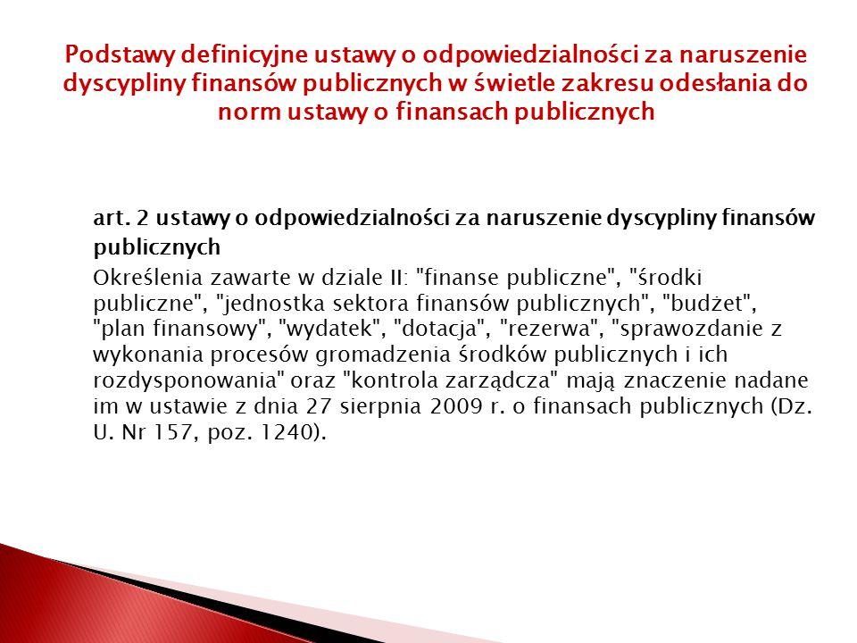art. 2 ustawy o odpowiedzialności za naruszenie dyscypliny finansów publicznych Określenia zawarte w dziale II: