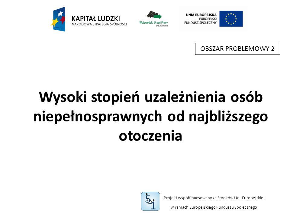 Projekt współfinansowany ze środków Unii Europejskiej w ramach Europejskiego Funduszu Społecznego Wysoki stopień uzależnienia osób niepełnosprawnych od najbliższego otoczenia OBSZAR PROBLEMOWY 2