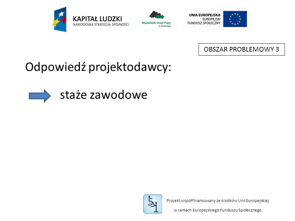 Projekt współfinansowany ze środków Unii Europejskiej w ramach Europejskiego Funduszu Społecznego OBSZAR PROBLEMOWY 3 staże zawodowe Odpowiedź projektodawcy: