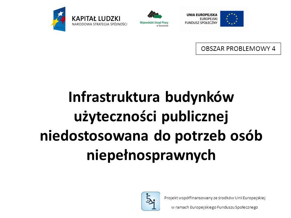 Projekt współfinansowany ze środków Unii Europejskiej w ramach Europejskiego Funduszu Społecznego Infrastruktura budynków użyteczności publicznej niedostosowana do potrzeb osób niepełnosprawnych OBSZAR PROBLEMOWY 4