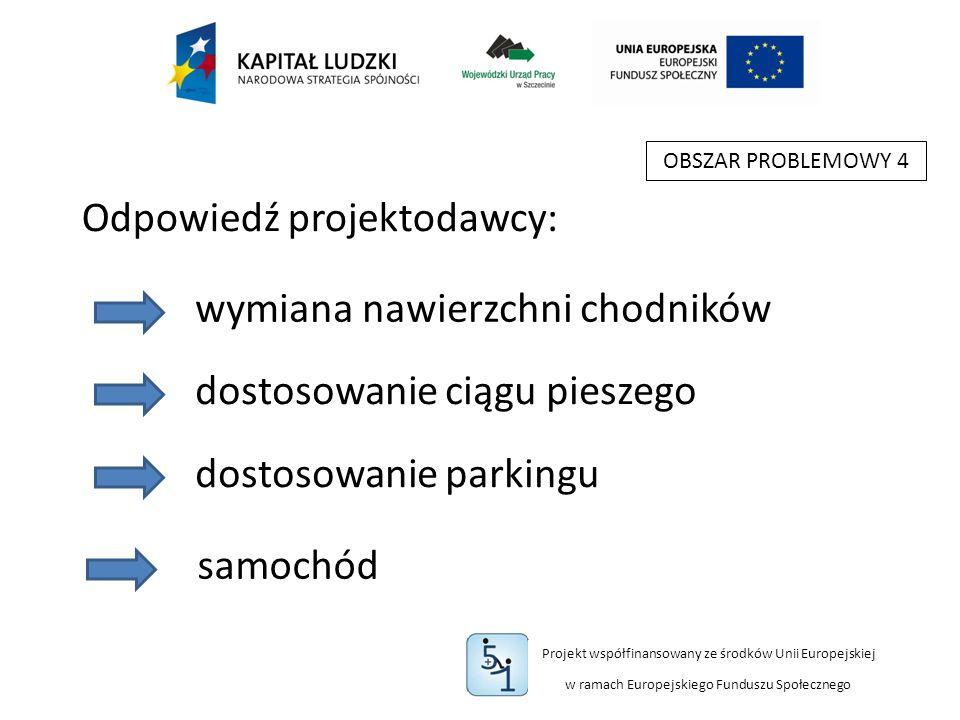 Projekt współfinansowany ze środków Unii Europejskiej w ramach Europejskiego Funduszu Społecznego OBSZAR PROBLEMOWY 4 wymiana nawierzchni chodników Odpowiedź projektodawcy: dostosowanie ciągu pieszego dostosowanie parkingu samochód