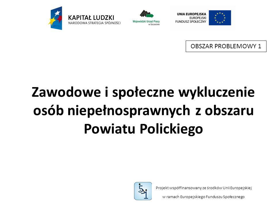 Projekt współfinansowany ze środków Unii Europejskiej w ramach Europejskiego Funduszu Społecznego Zawodowe i społeczne wykluczenie osób niepełnosprawnych z obszaru Powiatu Polickiego OBSZAR PROBLEMOWY 1
