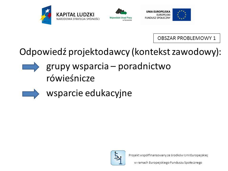 Projekt współfinansowany ze środków Unii Europejskiej w ramach Europejskiego Funduszu Społecznego OBSZAR PROBLEMOWY 1 grupy wsparcia – poradnictwo rówieśnicze wsparcie edukacyjne Odpowiedź projektodawcy (kontekst zawodowy):