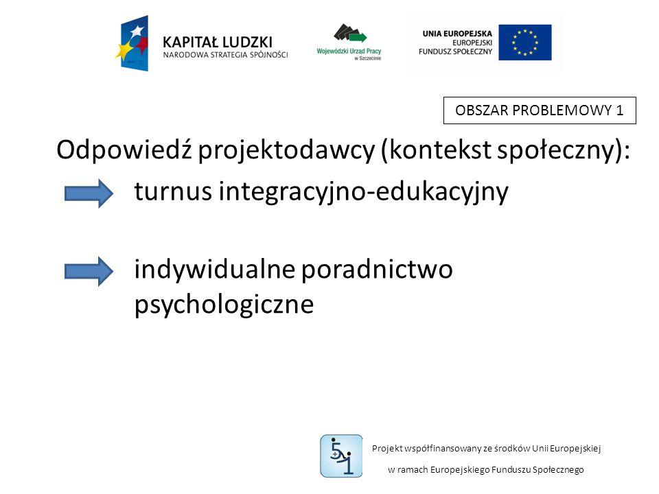 Projekt współfinansowany ze środków Unii Europejskiej w ramach Europejskiego Funduszu Społecznego OBSZAR PROBLEMOWY 1 turnus integracyjno-edukacyjny indywidualne poradnictwo psychologiczne Odpowiedź projektodawcy (kontekst społeczny):