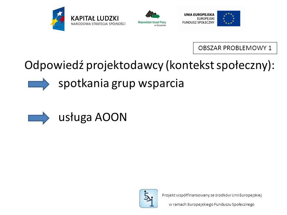 Projekt współfinansowany ze środków Unii Europejskiej w ramach Europejskiego Funduszu Społecznego OBSZAR PROBLEMOWY 1 spotkania grup wsparcia usługa AOON Odpowiedź projektodawcy (kontekst społeczny):