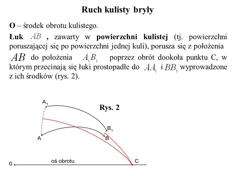 O – środek obrotu kulistego. Łuk, zawarty w powierzchni kulistej (tj. powierzchni poruszającej się po powierzchni jednej kuli), porusza się z położeni