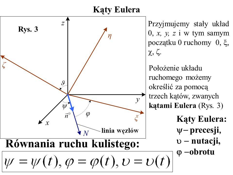 Kąty Eulera Przyjmujemy stały układ 0, x, y, z i w tym samym początku 0 ruchomy 0, , , . Rys. 3  kąt obrotu Kąty Eulera:  precesji   nutac
