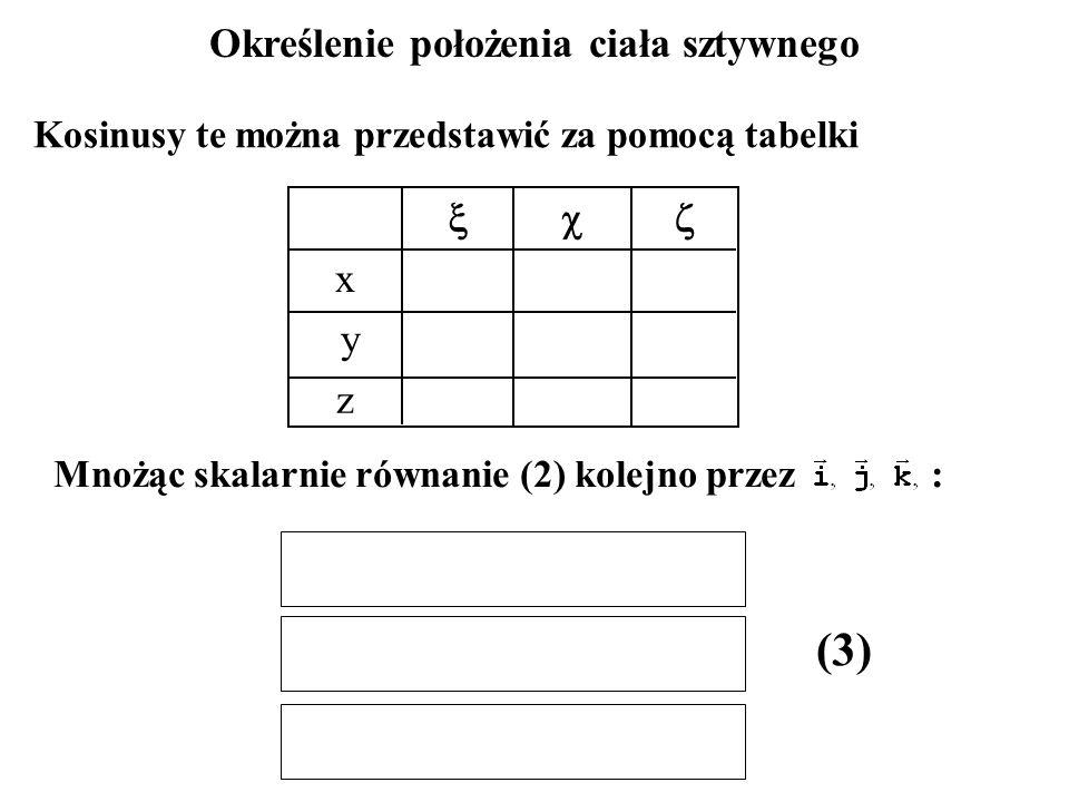 Określenie położenia ciała sztywnego  x y z Kosinusy te można przedstawić za pomocą tabelki Mnożąc skalarnie równanie (2) kolejno przez : (3)