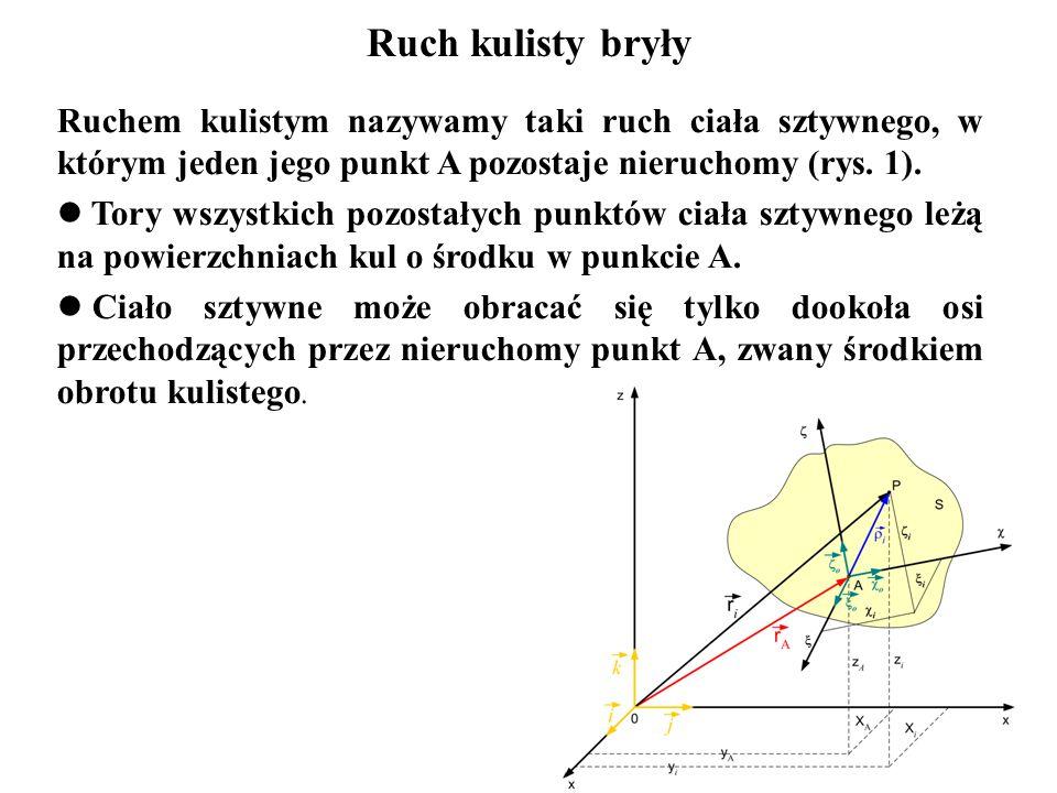 Ruchem kulistym nazywamy taki ruch ciała sztywnego, w którym jeden jego punkt A pozostaje nieruchomy (rys. 1). Tory wszystkich pozostałych punktów cia
