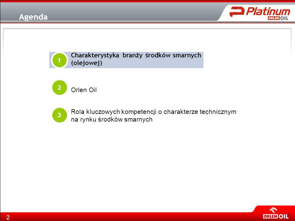 2 Agenda 2 Orlen Oil Charakterystyka branży środków smarnych (olejowej) 1 3 Rola kluczowych kompetencji o charakterze technicznym na rynku środków sma