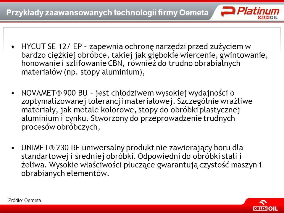 Przykłady zaawansowanych technologii firmy Oemeta HYCUT SE 12/ EP – zapewnia ochronę narzędzi przed zużyciem w bardzo ciężkiej obróbce, takiej jak głę