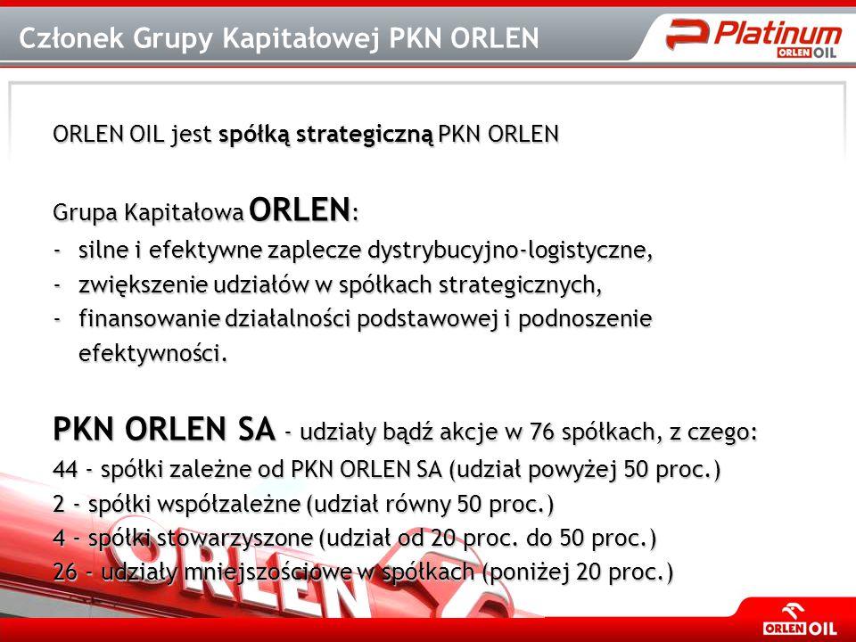 ORLEN OIL jest spółką strategiczną PKN ORLEN Grupa Kapitałowa ORLEN : -silne i efektywne zaplecze dystrybucyjno-logistyczne, -zwiększenie udziałów w s