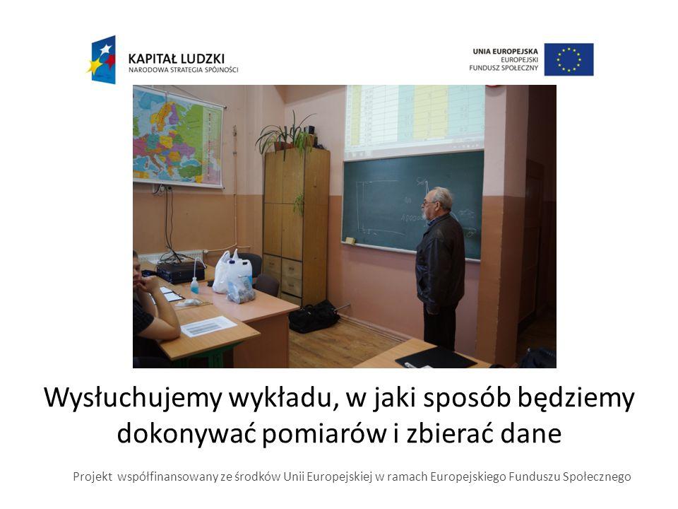 Wysłuchujemy wykładu, w jaki sposób będziemy dokonywać pomiarów i zbierać dane Projekt współfinansowany ze środków Unii Europejskiej w ramach Europejs