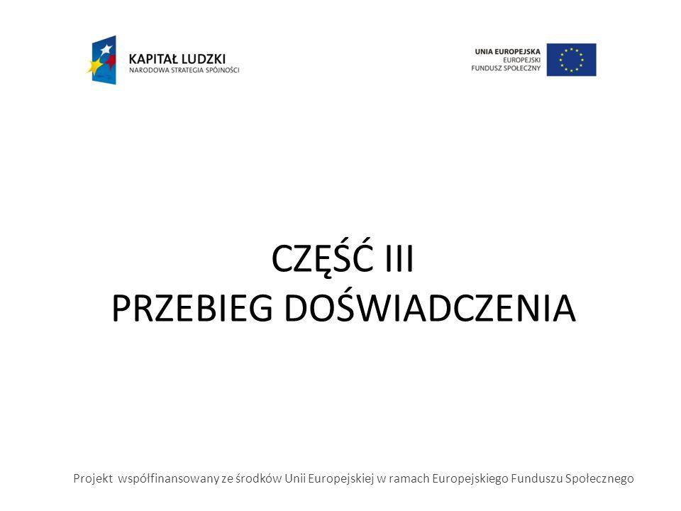 CZĘŚĆ III PRZEBIEG DOŚWIADCZENIA Projekt współfinansowany ze środków Unii Europejskiej w ramach Europejskiego Funduszu Społecznego