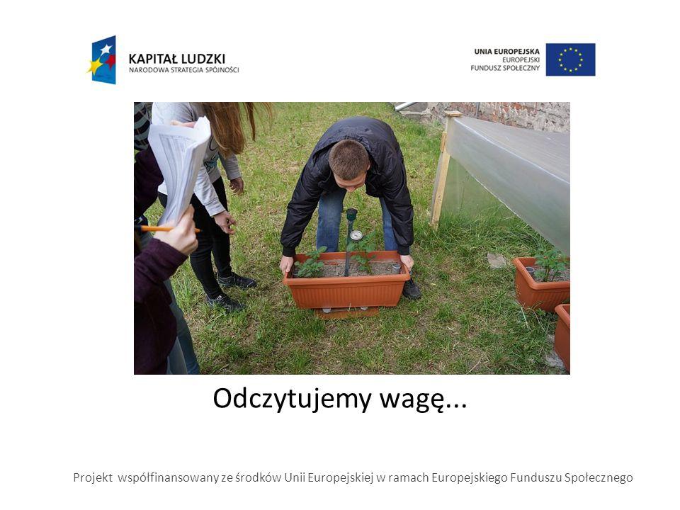 Odczytujemy wagę... Projekt współfinansowany ze środków Unii Europejskiej w ramach Europejskiego Funduszu Społecznego