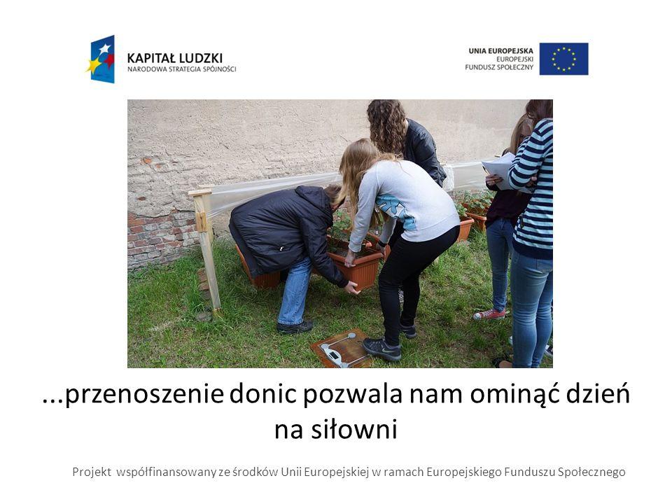...przenoszenie donic pozwala nam ominąć dzień na siłowni Projekt współfinansowany ze środków Unii Europejskiej w ramach Europejskiego Funduszu Społec