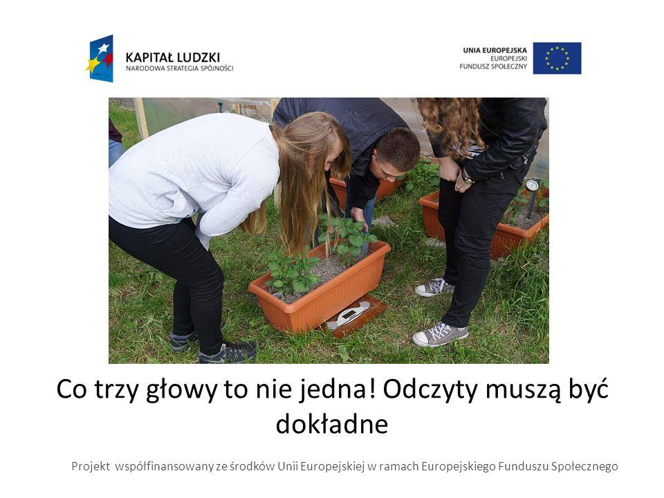 Co trzy głowy to nie jedna! Odczyty muszą być dokładne Projekt współfinansowany ze środków Unii Europejskiej w ramach Europejskiego Funduszu Społeczne