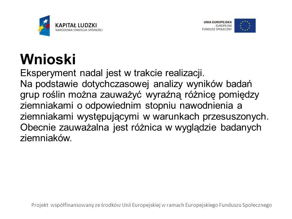 Projekt współfinansowany ze środków Unii Europejskiej w ramach Europejskiego Funduszu Społecznego Wnioski Eksperyment nadal jest w trakcie realizacji.