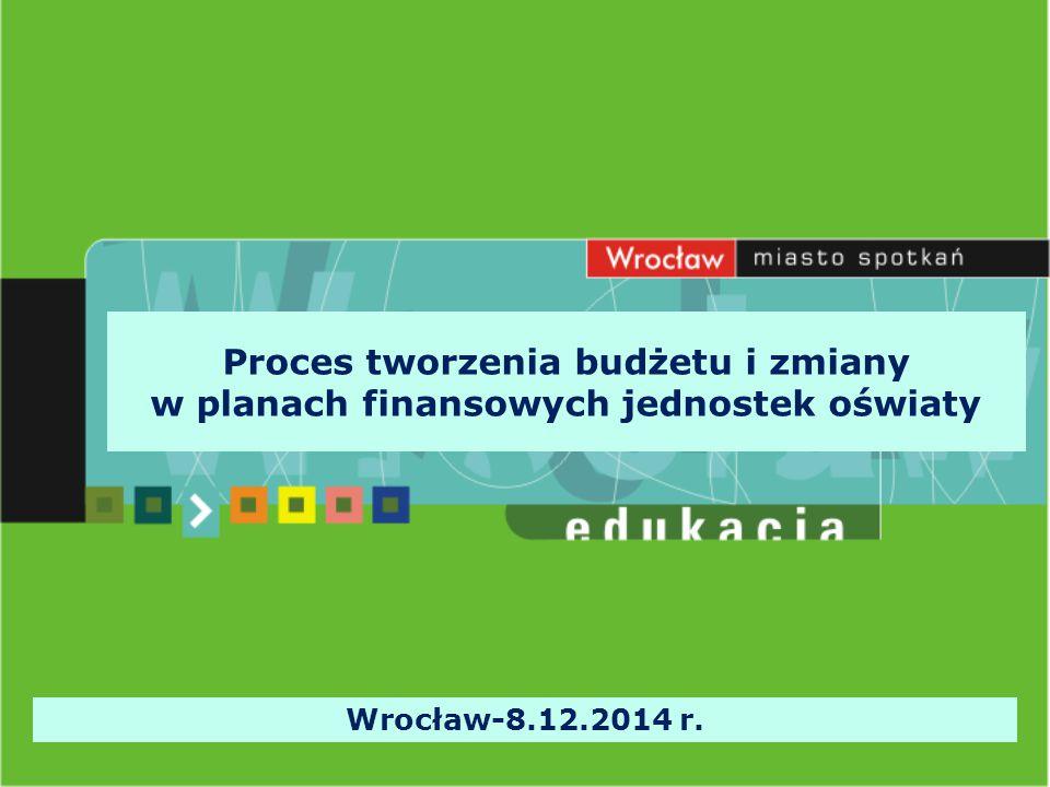 Planowanie finansów jednostki oświatowej Zasady opracowania projektu planu finansowo – rzeczowego jednostki budżetowej określa na każdy rok budżetowy zarządzenie Prezydenta Wrocławia.