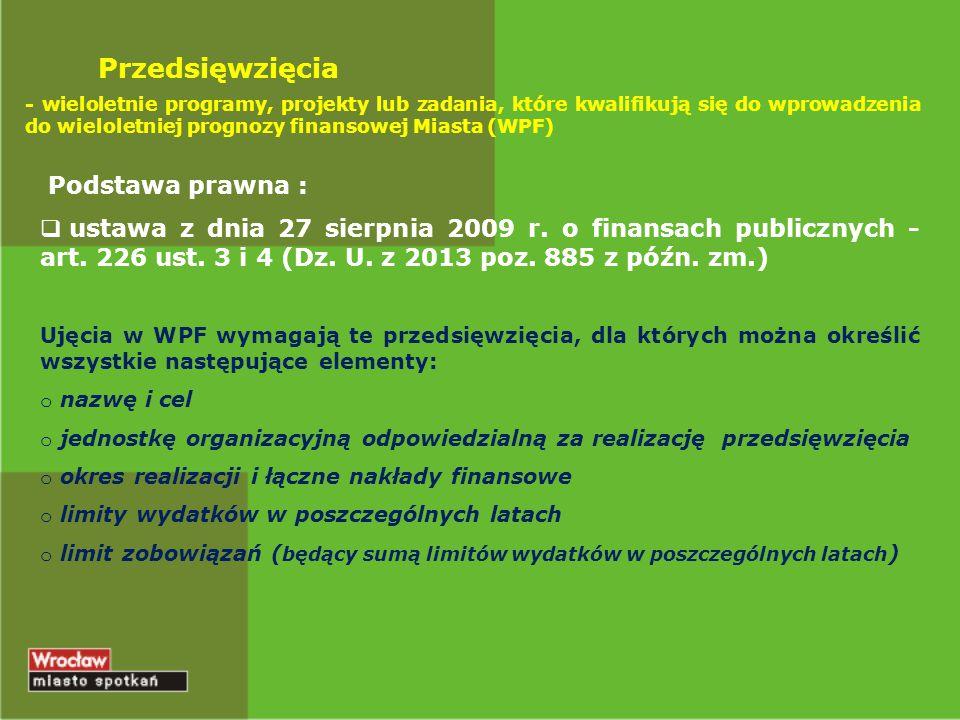 Przedsięwzięcia - wieloletnie programy, projekty lub zadania, które kwalifikują się do wprowadzenia do wieloletniej prognozy finansowej Miasta (WPF) P