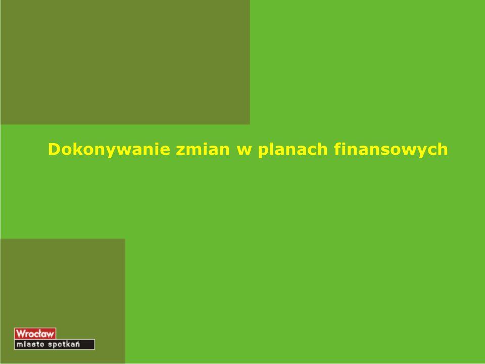 Dokonywanie zmian w planach finansowych