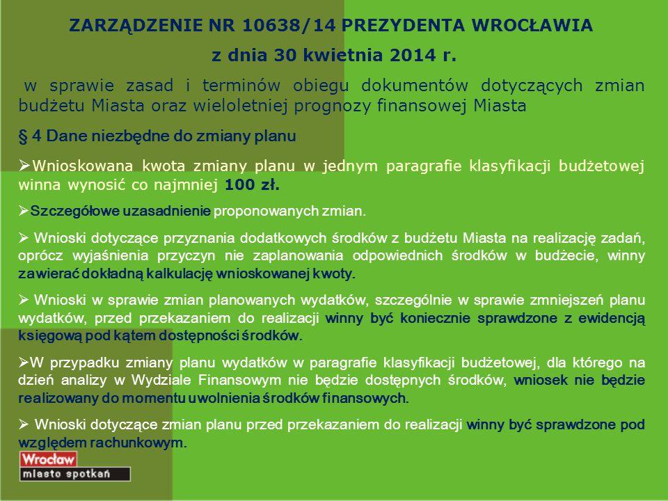 ZARZĄDZENIE NR 10638/14 PREZYDENTA WROCŁAWIA z dnia 30 kwietnia 2014 r. w sprawie zasad i terminów obiegu dokumentów dotyczących zmian budżetu Miasta