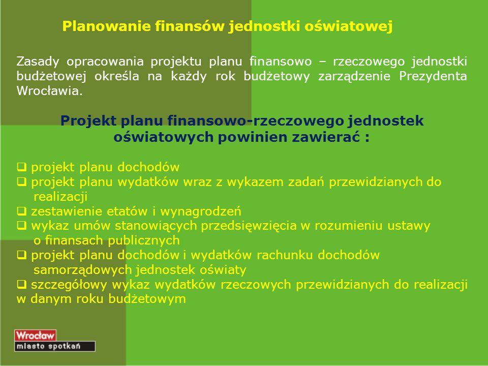 Planowanie finansów jednostki oświatowej Zasady opracowania projektu planu finansowo – rzeczowego jednostki budżetowej określa na każdy rok budżetowy