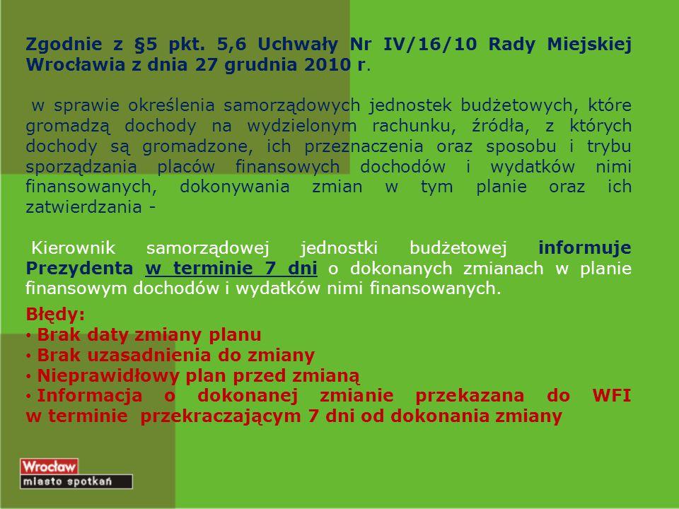 Zgodnie z §5 pkt. 5,6 Uchwały Nr IV/16/10 Rady Miejskiej Wrocławia z dnia 27 grudnia 2010 r. w sprawie określenia samorządowych jednostek budżetowych,