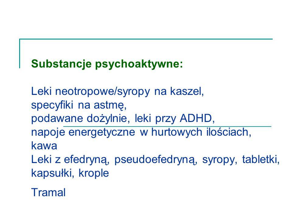 Substancje psychoaktywne: Leki neotropowe/syropy na kaszel, specyfiki na astmę, podawane dożylnie, leki przy ADHD, napoje energetyczne w hurtowych ilościach, kawa Leki z efedryną, pseudoefedryną, syropy, tabletki, kapsułki, krople Tramal