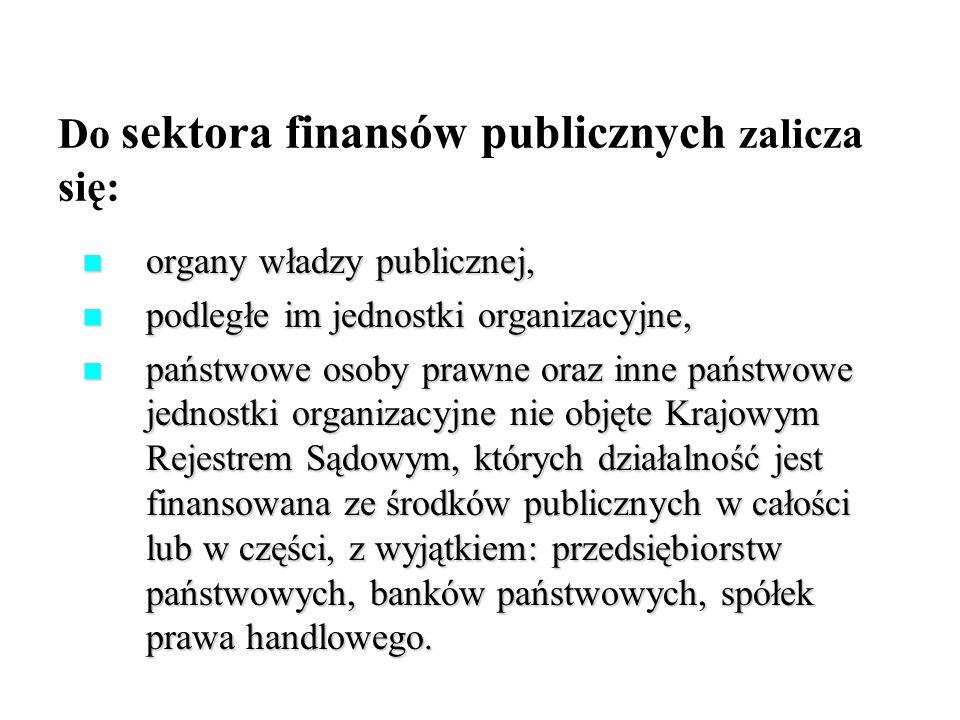 Do sektora finansów publicznych zalicza się: organy władzy publicznej, organy władzy publicznej, podległe im jednostki organizacyjne, podległe im jedn