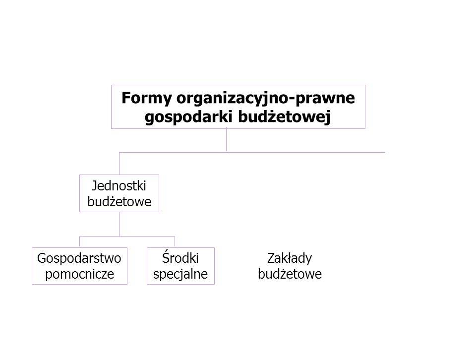 Zakłady budżetowe Formy organizacyjno-prawne gospodarki budżetowej Gospodarstwo pomocnicze Środki specjalne Jednostki budżetowe