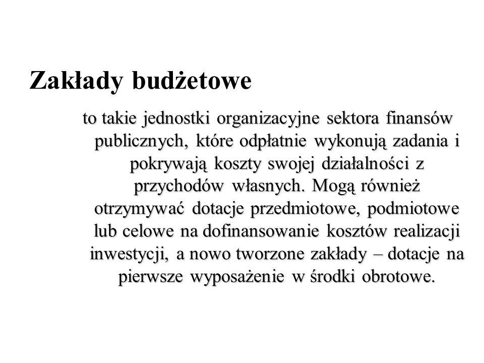 Zakłady budżetowe to takie jednostki organizacyjne sektora finansów publicznych, które odpłatnie wykonują zadania i pokrywają koszty swojej działalnoś
