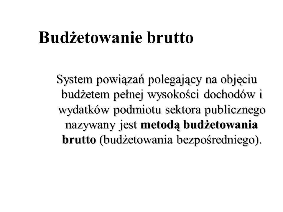 Budżetowanie brutto System powiązań polegający na objęciu budżetem pełnej wysokości dochodów i wydatków podmiotu sektora publicznego nazywany jest met