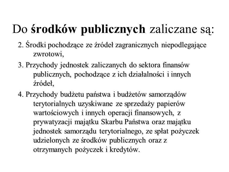 Do środków publicznych zaliczane są: 2. Środki pochodzące ze źródeł zagranicznych niepodlegające zwrotowi, 3. Przychody jednostek zaliczanych do sekto