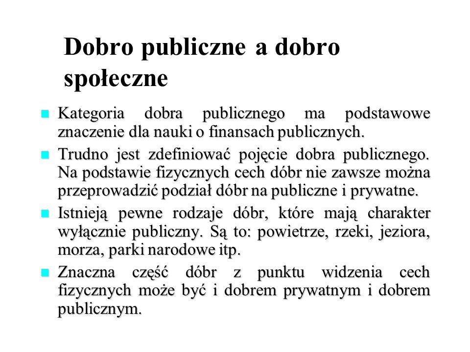 Dobro publiczne a dobro społeczne Kategoria dobra publicznego ma podstawowe znaczenie dla nauki o finansach publicznych. Kategoria dobra publicznego m