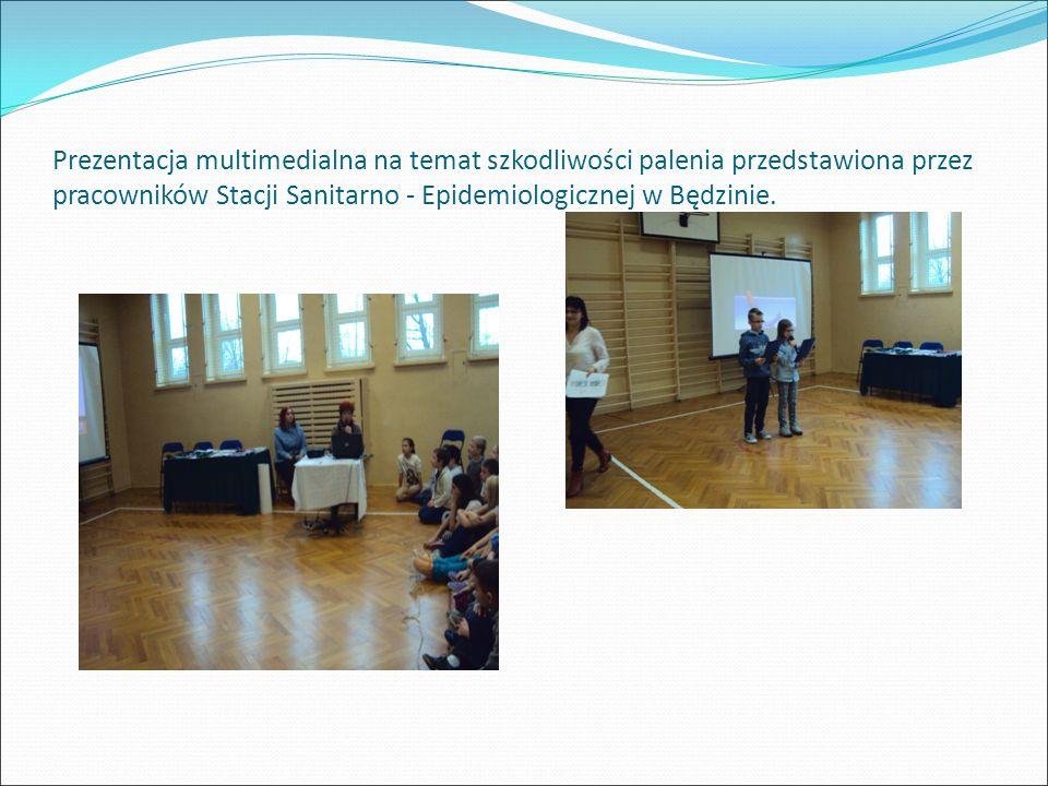 Prezentacja multimedialna na temat szkodliwości palenia przedstawiona przez pracowników Stacji Sanitarno - Epidemiologicznej w Będzinie.