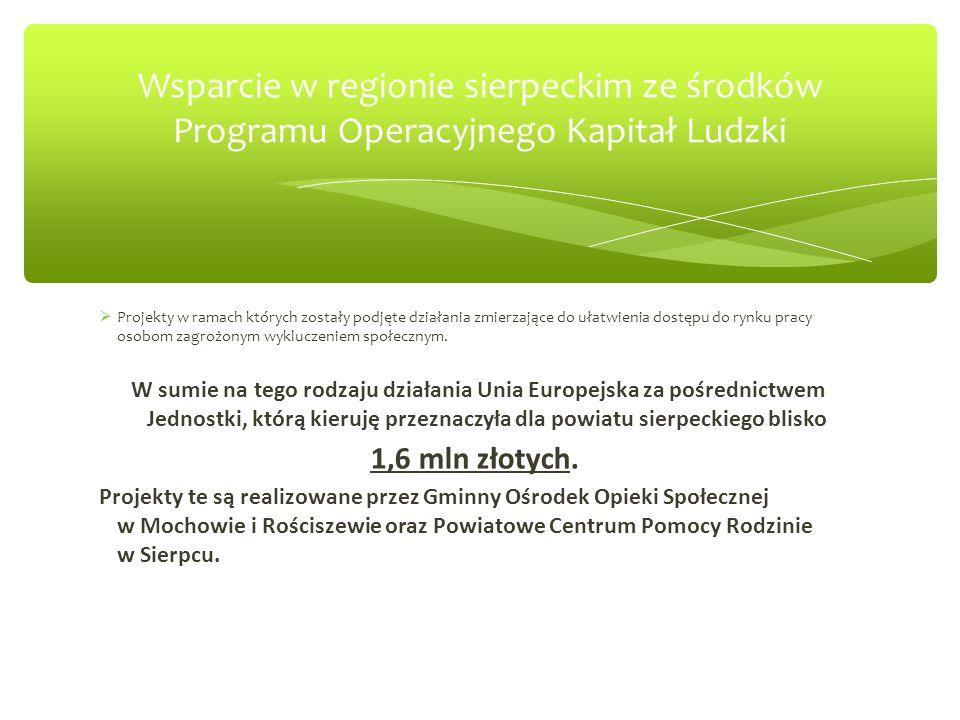 Wsparcie w regionie sierpeckim ze środków Programu Operacyjnego Kapitał Ludzki  Projekty w ramach których zostały podjęte działania zmierzające do ułatwienia dostępu do rynku pracy osobom zagrożonym wykluczeniem społecznym.